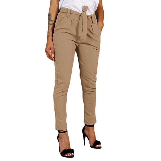 a basso prezzo 58db6 356b4 Elecenty Pantaloni casual a vita alta con elastico in vita da donna con  fasciatura da donna a vita alta