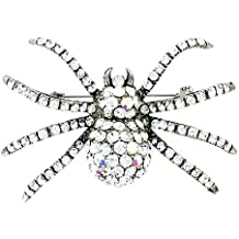 Clear Crystal on Silver Plated Sparkly Spider Brooch
