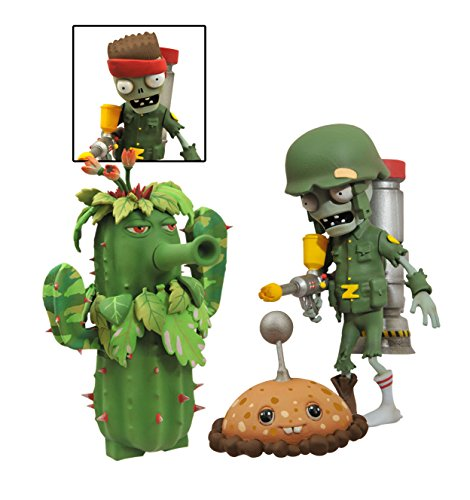 Diamond Select Toys Plants vs. Zombies Garden Warfare: Foot Soldier Zombie vs. Camo Cactus Select Action Figure