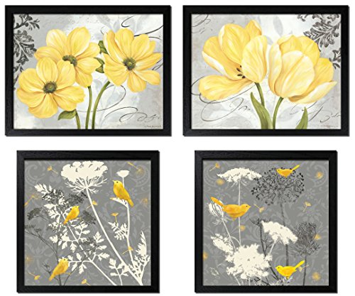 (Gango Home Decor Beautiful Grey & Yellow Poster Set; Birds and Flowers; Two 12x12in and Two 14x11in Black Framed Prints)