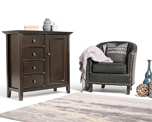 Simpli Home Amherst Solid Wood Medium Storage Cabinet, Dark Brown