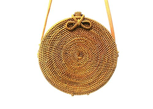 Woven Inside Bow Ata Linen Clasp and Harvest Bag Bali Rattan Round EqwxS0T