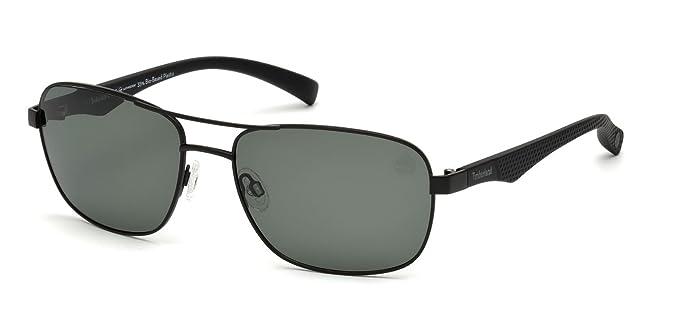 Timberland Hombre TB9136 Gafas de sol, Negro (Matte Black/Green Polarized), 59