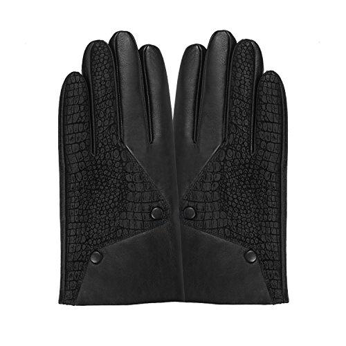 GSG Mens Snake Pattern + Button Decor Novelty Gloves Touchscreen Driving Gloves Warm Genuine Leather Gloves Winter Outdoor Black 10