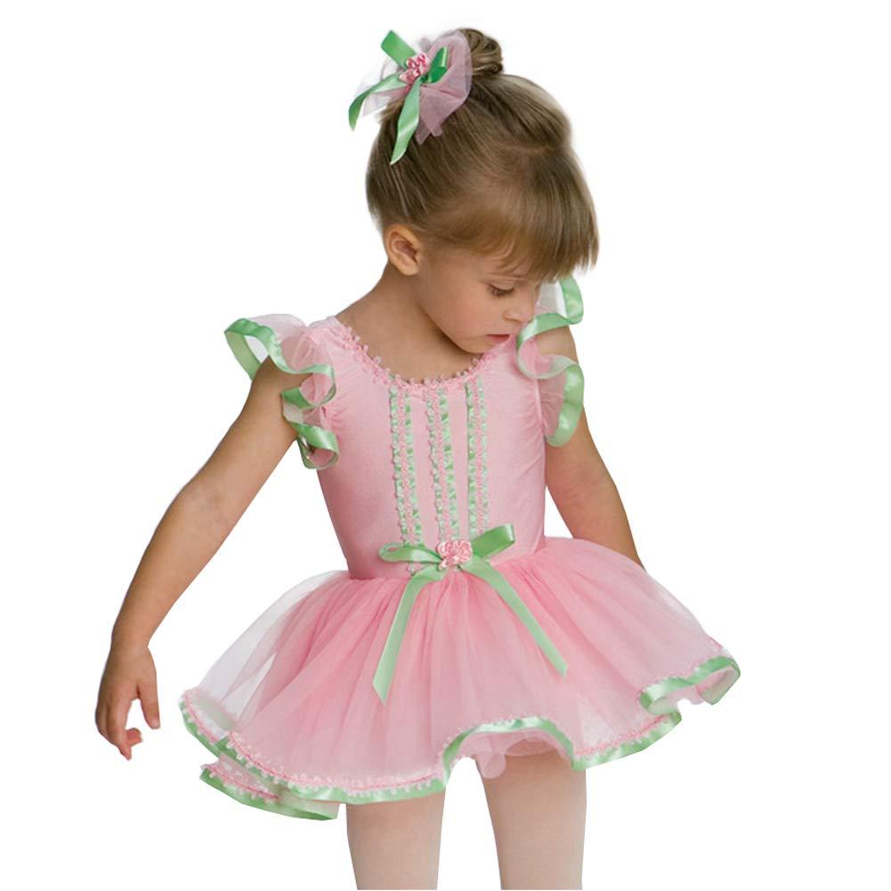 JIE。チュチュキッズピンクプリンセスドレスバレエダンスドレスガーゼ衣装ステージパフォーマンス衣装、XSC B07PR4NRQ1