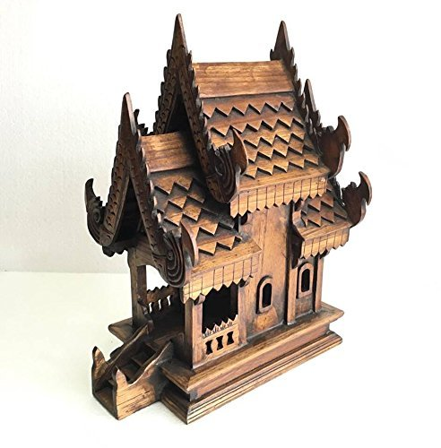 Thai Handmade Spirit-house Large, Size 13 x 9 x 17.5 inch, Products of Thailand by WADSUWAN SHOP