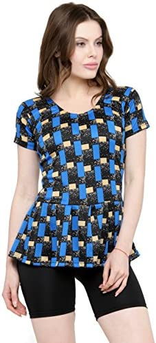 31be497295 N-Gal Women Frock Style Blue Print Half Sleeves & Shorts One Piece Swimwear  Swimsuit