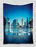 Dorm Room Accessories Dream City Night View of Manhattan Penthouse Stylish Panoramic Skyline New York City Skyscrapers Tapestry Wall Hanging for Living Room Bedroom Dorm Decor, Navy Blue Yellow Black