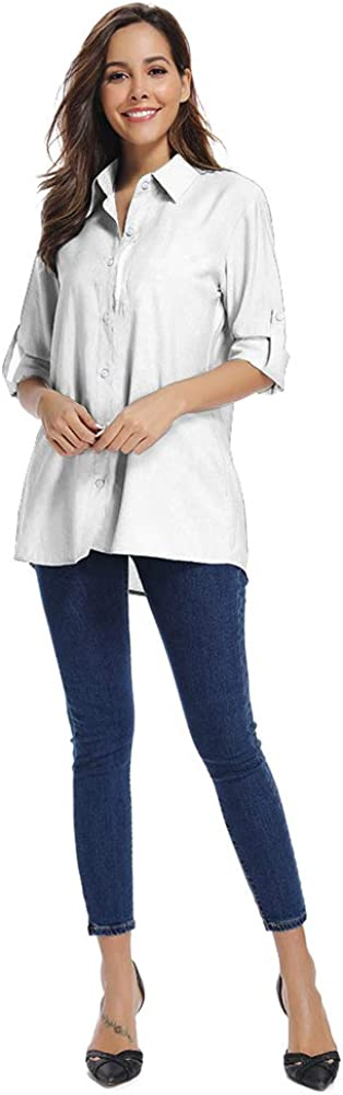 Womens Quick Dry Sun UV Protection Convertible Long Sleeve Shirts for Hiking Camping Fishing Sailing,5019,White,XXL