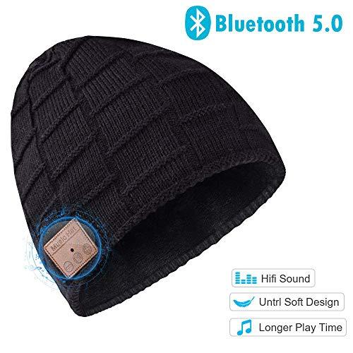 Bluetooth Beanie Hat, Warm Gifts For Women Wireless Headphone Beanie, Winter Knitting Beanie Cap Bluetooth Earphones, Built-in Microphone Hand-Free Calling (Black)