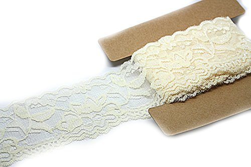 Stretch Lace Elastic - 10 Yards - 2 Inch Wide - Trim Lace for Headbands Garters (Ivory) ()