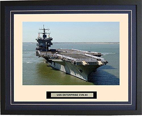- Navy Emporium - USS Enterprise CVN-65 - Framed - Photo - Engraved Ship Name - Double Mat - Photograph - 16 X 20 - 161CVN65Blue