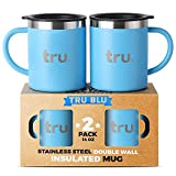 Coffee Mug with Lid (Set of 2) – Stainless Steel Camping Mug with Handle, Double Wall & Insulated Metal Cup - BPA Free, Shatterproof, Dishwasher Safe (14oz)