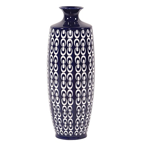 Blue and White Textured Ceramic, Vase-Large (Ceramic Textured Vases)