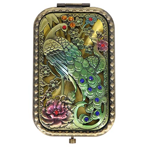 Ivenf Antique Vintage Square Compact Purse Mirror Wedding/Christmas/Birthday Gift, Peacock King Closed Tail, Bronze