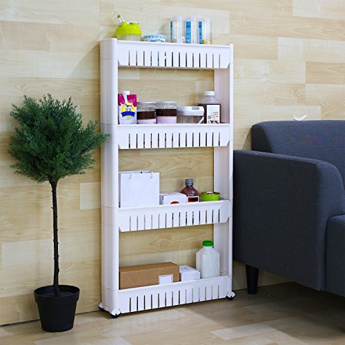 Saimani 4 Layer Space Saving Storage Organizer Rack Shelf with Wheels for Kitchen Bathroom Bedroom