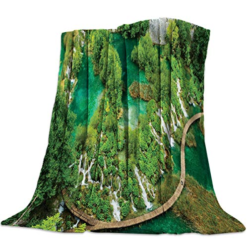 Anzona Lightweight Flannel Fleece Bed Blankets 59'' x 78'' Soft Luxury Throw Blankets Overlook Waterfall and Bridge Nature Landscape Travel Camping Blankets for Girls/Kids/Boys/Couch Childrens Waterfall Back Recliner