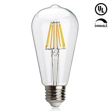 Intensidad regulable bombilla LED Edison, misslight 6 W Vintage de filamentos LED bombilla, 2700 K blanco ...