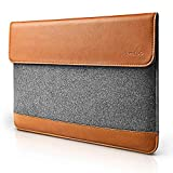 tomtoc Slim Laptop Sleeve for 15 Inch New MacBook Pro with Touch Bar Late 2016-2019 A1990 A1707, Felt & PU Leather Protective Case Cover Bag with Accessory Pocket