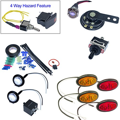 Universal UTV ATV DIY Street Legal Kit Turn Signals with Horn (Oval LED, Toggle Switch) (Kit Turbo 800)