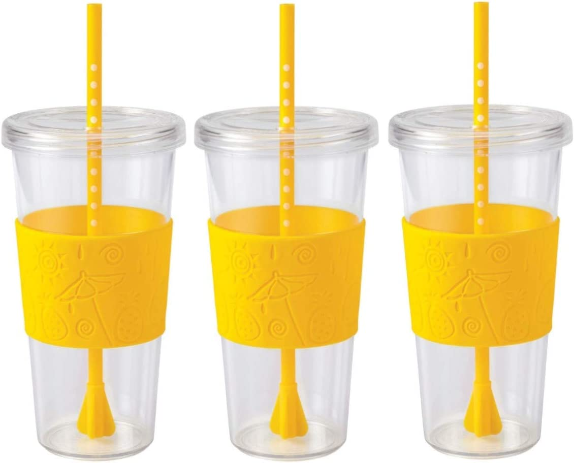 Copco Sierra Cold Tumbler, 24-ounce Capacity - Pack of 3 (Pineapple Yellow)