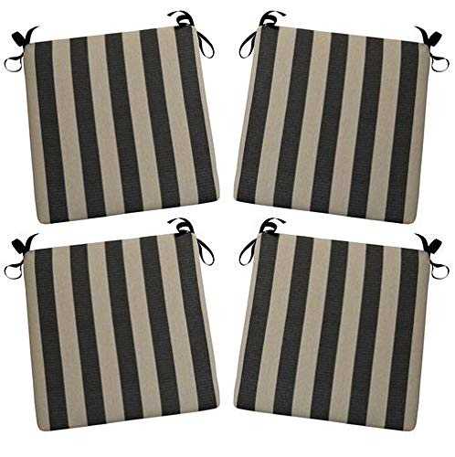 RSH Décor Set of 4 Indoor/Outdoor Chair Cushions ~ Olefin Black & Tan Stripe 3