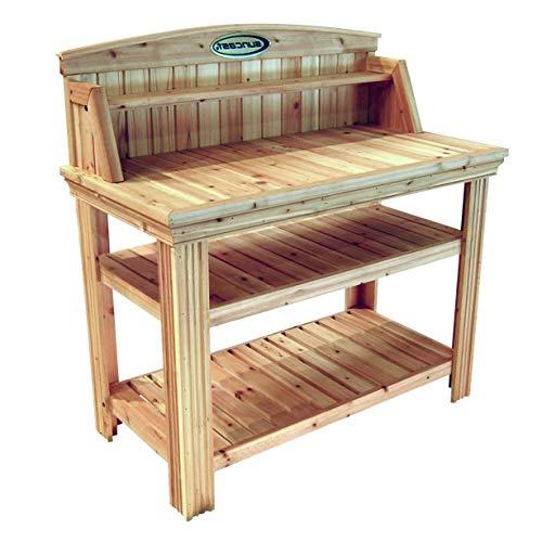 (StarSun Depot Natural Cedar Wood Potting Bench Garden Work Table with Shelves)