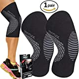 PHYSIX GEAR SPORT Knee Support Brace - Premium Recovery & Compression Sleeve For Meniscus Tear, ACL, Running & Arthritis - Best Neoprene Wrap for Crossfit, Squats & Heavy Duty Workouts (1 PAIR Grey S)