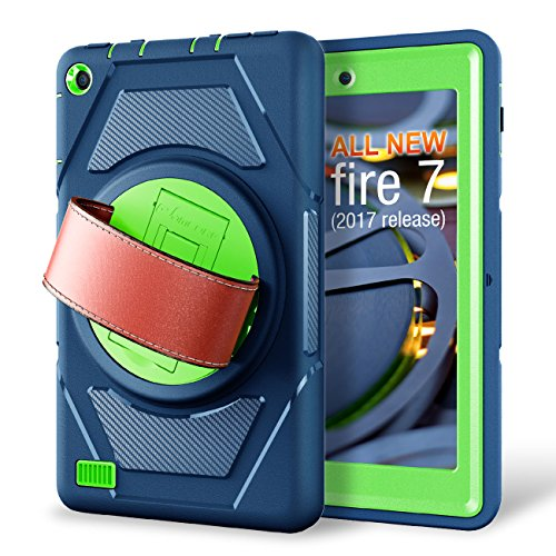 eSamcore All-New Amazon Fire 7 Tablet Case,[Built-in Screen Protector] [Hand Strap] [Kickstand] Rugged Protection Case for Kindle Fire 7 2017 Release [Navy Blue/Green]
