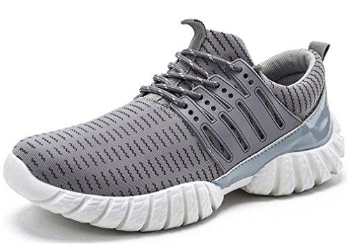 NEWZCERS Zapatillas de deporte ligeras con estilo de los zapatillas de deporte de los zapatos corrientes para los hombres gris