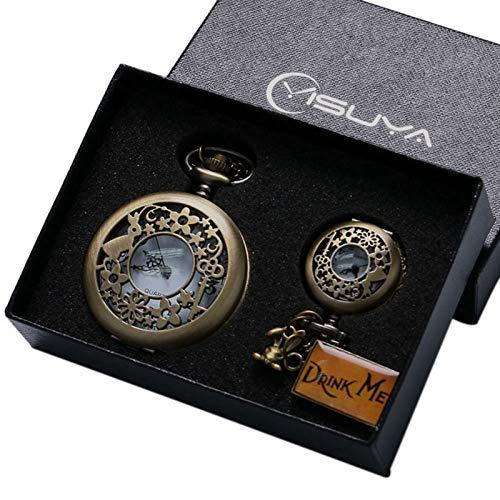 Bronze Alice in Wonderland Drink Me Tag Women Rabbit Flower Pocket Watch |Necklace Pendant |Novelty Box Sets