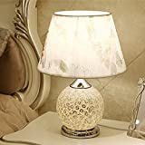 Luxury Glass Table Lamp Up And Down Double Control Energy Saving Lamp European Wedding Bedroom Bedside Lamp ( Color : Silver , Size : A )
