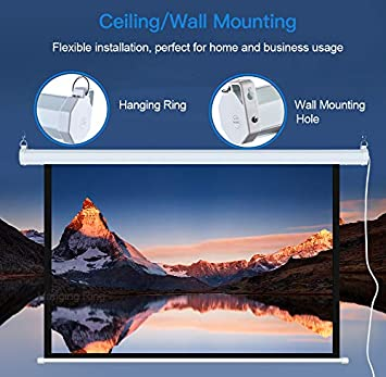 Great for Home Office Theater TV Usage Electric Motorized Projector Screen 100 inch 16:9 HD Diagonal with Remote Control Wall//Ceiling Mounted Movie Screen with Wrinkle-Free Design