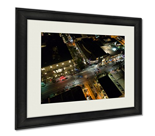 Ashley Framed Prints Night Image Aerial Lincoln Road, Wall Art Home Decoration, Color, 30x35 (frame size), - Shops Promenade Mall