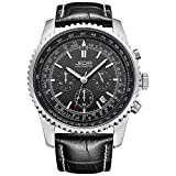JEDIR Chronograph Quartz Men Watches with Date Window Metal Case Soft Leather Strap