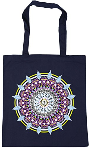 Bag Shopping 42cm Mandala Navy HippoWarehouse Gym Spiritual Tote Tattoo Beach Colourful x38cm French 10 litres XxHxS