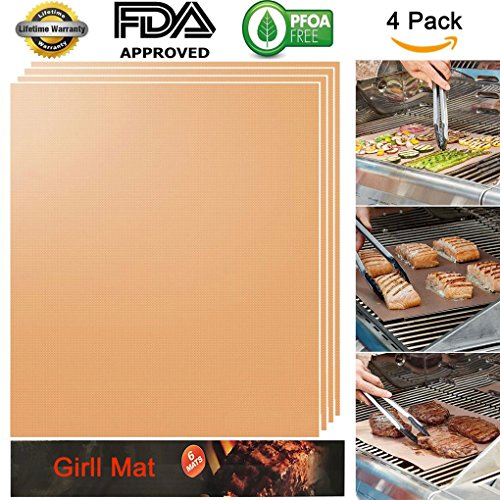 Ambox Copper Grill Mat Set of 4, 100% Non-Stick BBQ Grill Mats, FDA-Approved, Heavy Duty, Reusable, Easy to Clean Baking & Barbecue Accessories, Works on Gas, Charcoal, Electric Grill, 15.75 x 13 Inch