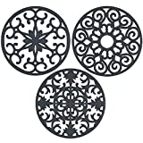 gasaré, Extra Large, Extra Thick Silicone Trivets for Hot Dishes and Cookware,10 x 3/8 inches (Grey)