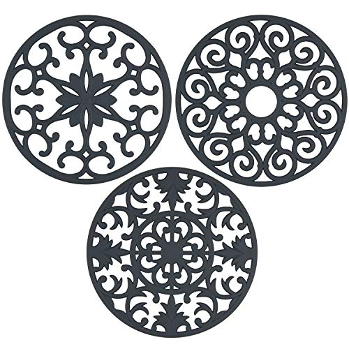 gasaré, Extra Large, Extra Thick Silicone Trivets for Hot Dishes and Cookware,10 x 3/8 inches (Grey) ()