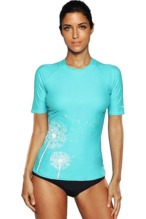 bc3fb85cd3355 maysoul Women Swim Shirts Swimsuit Tops Short Sleeve Rash Guard UV surf  Shirts Small