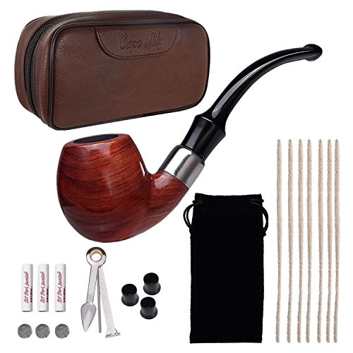 Tobacco Pipe Set, Pear Wood Smoking Pipe and Brown Pipe Pouch Kit with Smoking Accessories by Capo (Pipe Making Kit)
