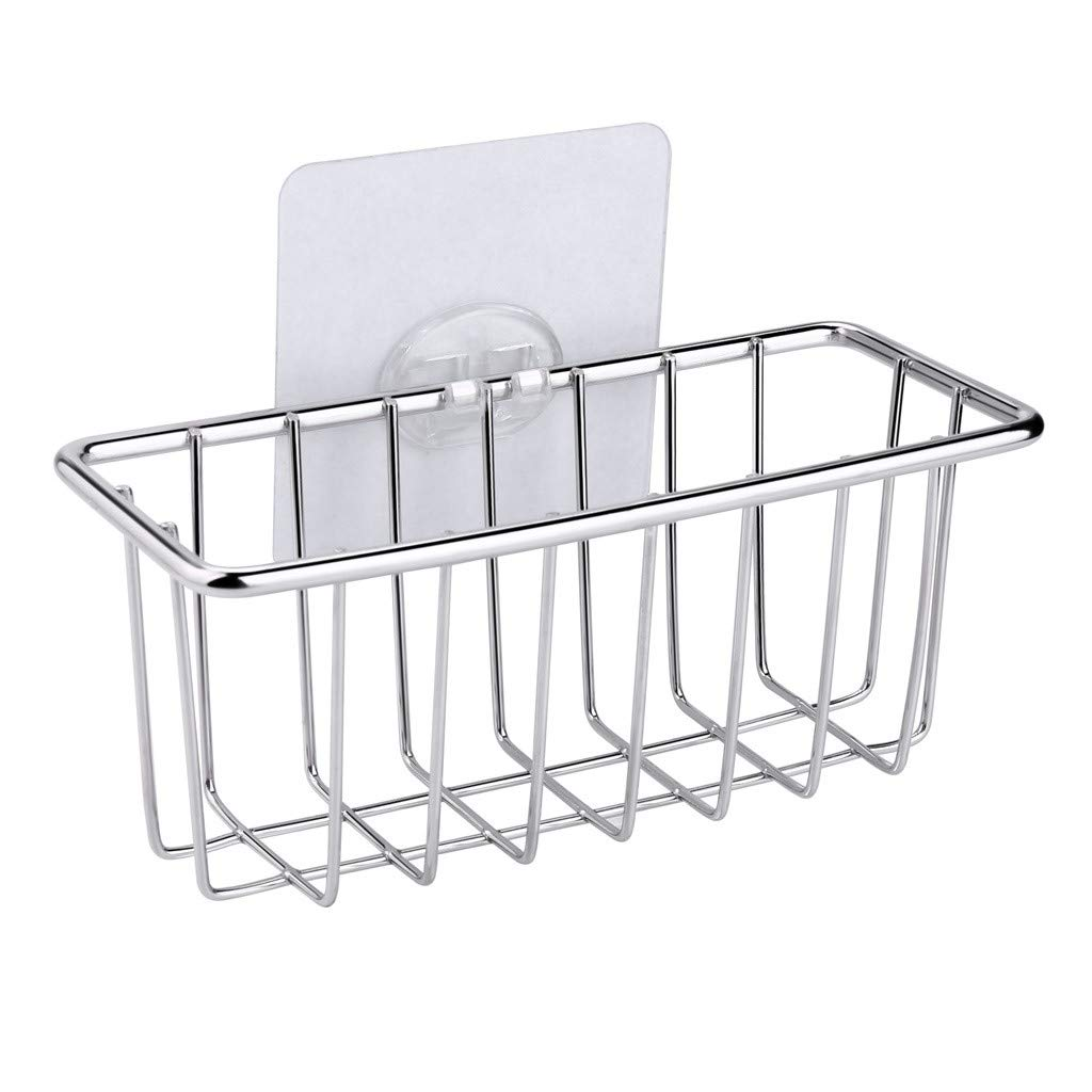 Storage Rack Xlala Stainless Steel Sponge Holder Sink Caddy Drain Shelf Sponge Storage Organizer Household Products Bathroom Hollow Hangable Frame