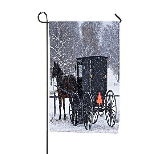 Painted Amish Buggy - Decorative Winter Christmas Garden Flag 12 x 18 Inch, Double-Sided Polyester, House Yard Flag to Brighten Up Your Home & Garden - Winter Black Horse Amish Buggy