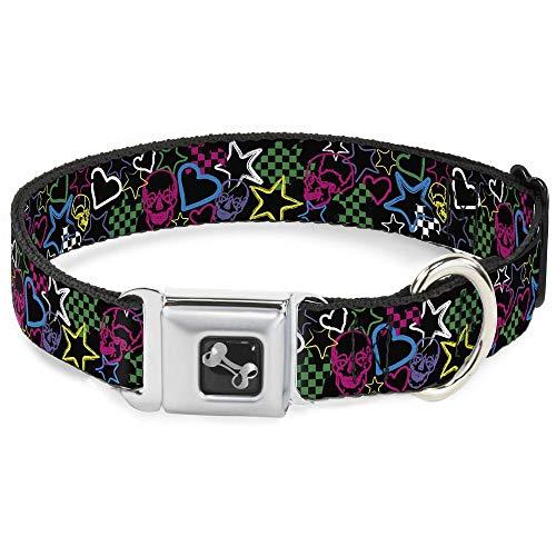 Hearts Sketch (Buckle Down Seatbelt Buckle Dog Collar - Sketch Skull/Star/Heart/Checker Black/Multi - 1.5