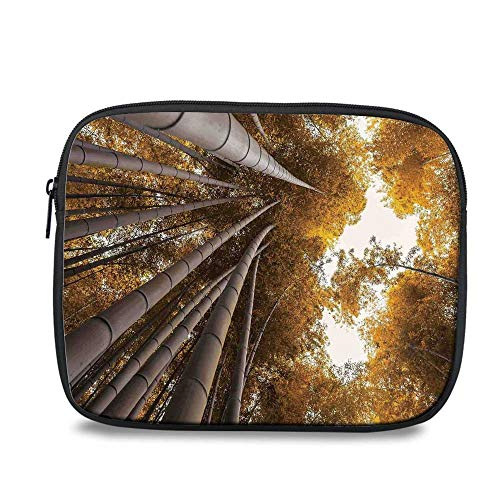 Bamboo House Decor Durable iPad Bag,Bottom to Top Bamboo Grove Fall Landscape Potential for Improvement Symbol Print for iPad,10.6