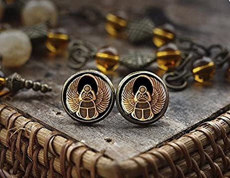egyptian with stone amulet ancient earrings gold jewelry inserts