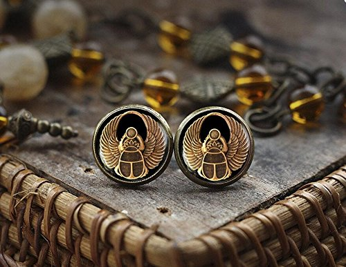 Scarab stud earrings, Scarab jewelry, ancient egypt jewelry, Egyptian earrings, Egyptian Scarab earrings, dark stud - Motif Earrings Sapphire