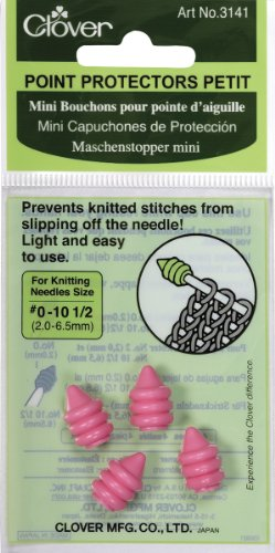 CLOVER 3141 Point Protector Petit for Needle Sizes 0-10-1/2 Pink 2 Pair