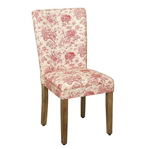 (HomePop Parsons Classic Upholstered Accent Dining Chair, Single Pack, Red Toile)