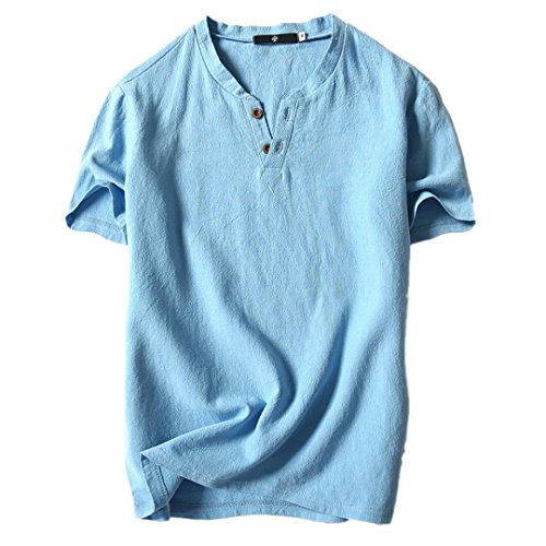 (Clearance Sale! Wintialy Men's Summer Casual Linen and Cotton Short Sleeve V-Neck T-Shirt Top Blouse Tee)